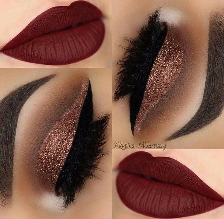 Rose Gold Eyes And Red Lips Eye Makeup Maroon Matte Lipstick