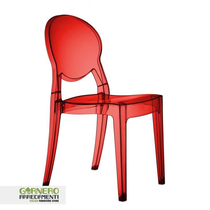 Sedia Igloo Chair Scab rosso trasparente ideale per bar. Sedie eleganti, robuste, comode e moderne, ottimo rapporto qualita prezzo, ideali per casa, cucina, soggiorno, ufficio, sala d'attesa, sala conferenze, bar, ristorante, pub, pizzeria, gelateria, pasticceria, negozio, albergo, discoteca. La sedia Igloo chair rosso trasparnete è una sedia impilabile con struttura in policarbonato disponibile in diversi colori. Per uso interno/esterno.