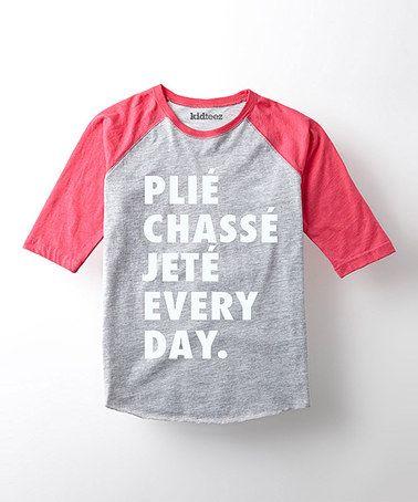 Look at this #zulilyfind! Heather Gray & Hot Pink 'Plie Chasse Jete' Tee - Toddler & Girls #zulilyfinds