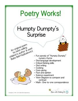 Poetry Works!Humpty Dumptys Surprise is a fun original parody of the Humpty Dumpty nursery rhyme offered by Bee with Babsy B. Student-tested for more than two decades, the parodys purpose is to capture and sustain the attention of your students as it invites them to think, talk, and reason.