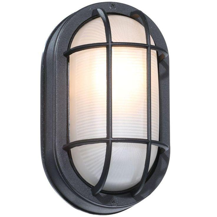 Hampton Bay Black Outdoor Oval Bulkhead Wall Light At The Home Depot