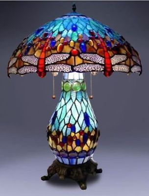 Tiffany Style Lamp Stained Glass Table U0026 Desk Dragonfly Accent Lighted Base  New
