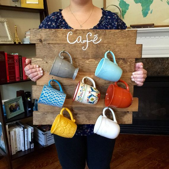 Coffee Mug Rack - Reclaimed Wood look Coffee Cup Organizer - Repurposed  Wooden Teacup Hooks - Kitchen Wall Decor