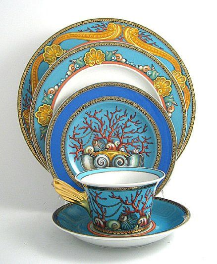 My husband i celebrated our 10 yr wedding anniversary by dining at Palazzo Versace on the gold coast. We dined on these Versace La Mer plates and hope to ...  sc 1 st  Pinterest & 10 best Versace images on Pinterest | Fine china Mugs and ...