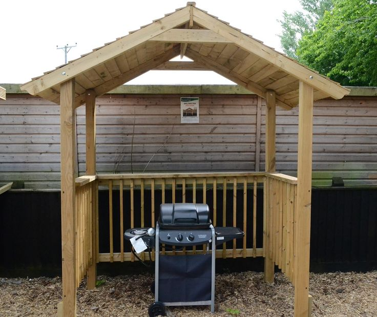 Softwood garden bbq shelter with either pent or apex roof. Large enough to accommodate chairs and use as a pergola. Pressure treated.