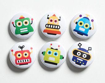 Robots button badges set, robot pin back badges, robot flairs. Stocking filler, party bag filler.