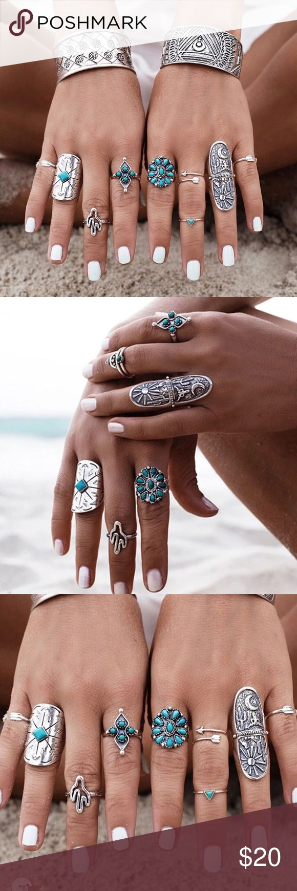 Boho Turquoise Silver Festival Rings Set NWT What a fun and flirty set of rings. Set of boho chic silver tone metal carved rings some with faux Turquoise.  Perfect Festival addition to your wardrobe.  Set of 6 rings. Curvy Couture Jewelry Rings