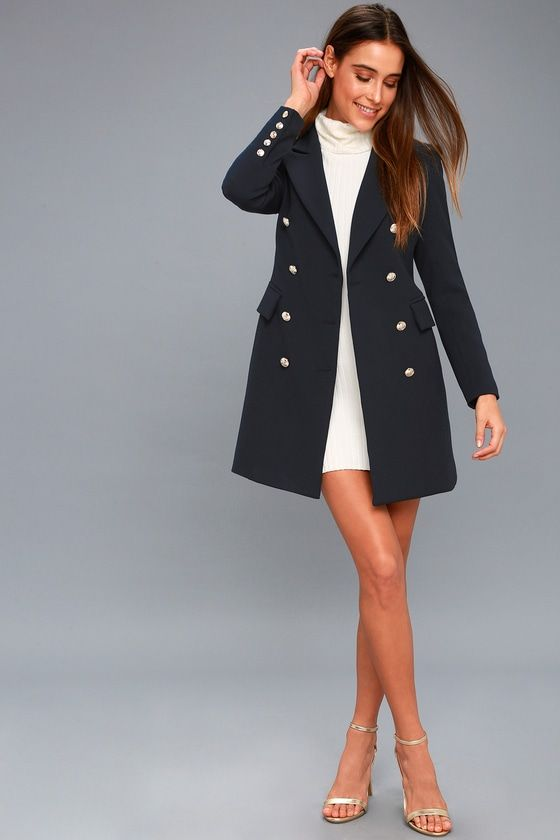 480071bc9e6f Captain's Blog Navy Blue Double-Breasted Coat in 2019 | Clothing ...