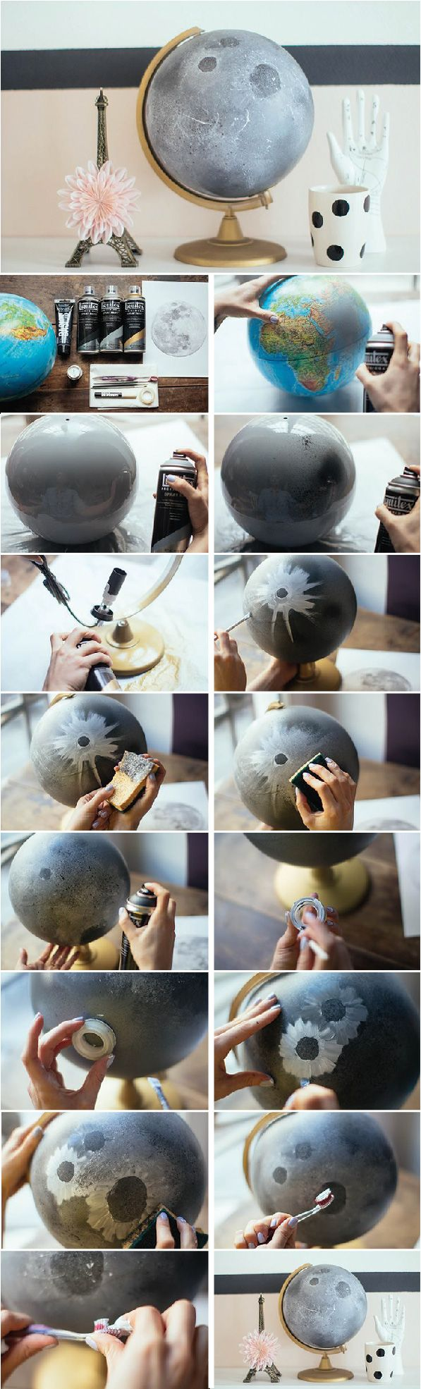 DIY painted moon globe. Turn an inexpensive globe into something new by taking the painted globe trend to the next level.