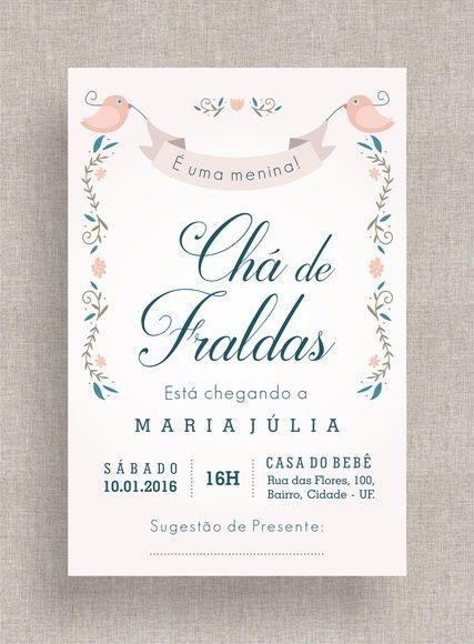 Convite Digital Chá de Fraldas 16 Chá de Bebê, tema retrô, diferente, simples, elegante, passarinhos, delicado, flores. Baby shower invite, retro theme, birds, ribbon, flowers.