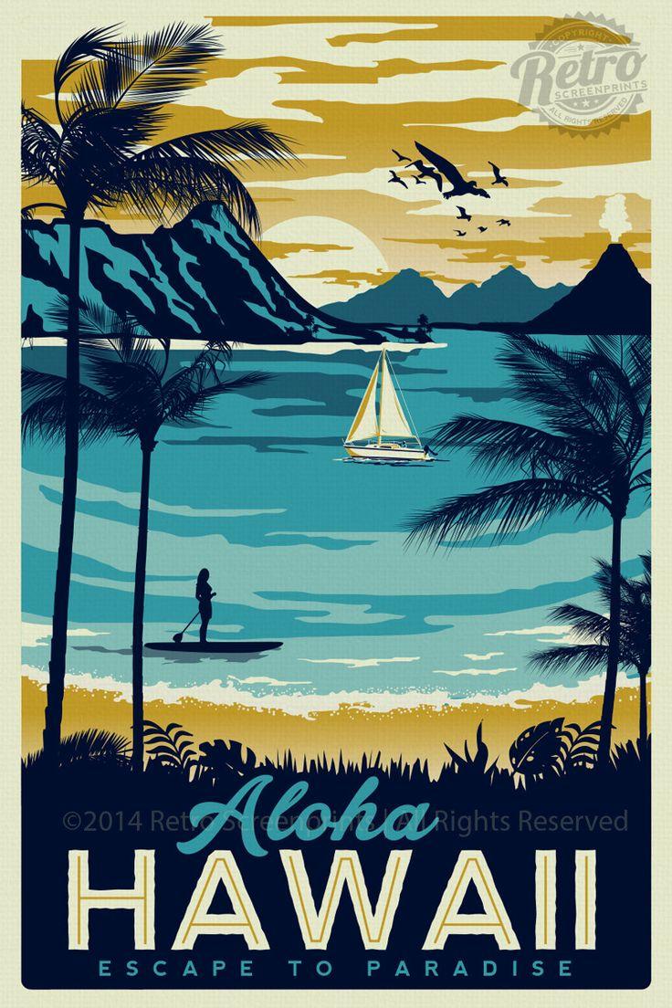 Hawaii Retro Vintage Travel Poster Surf Palm by RetroScreenprints