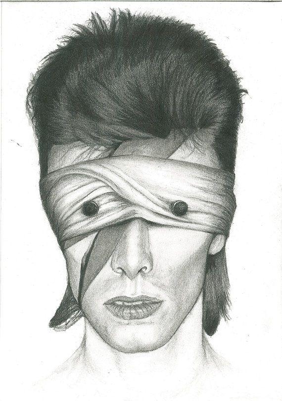 David Bowie - Aladdin sane as lazarus blackstar charcoal portrait drawing fan…