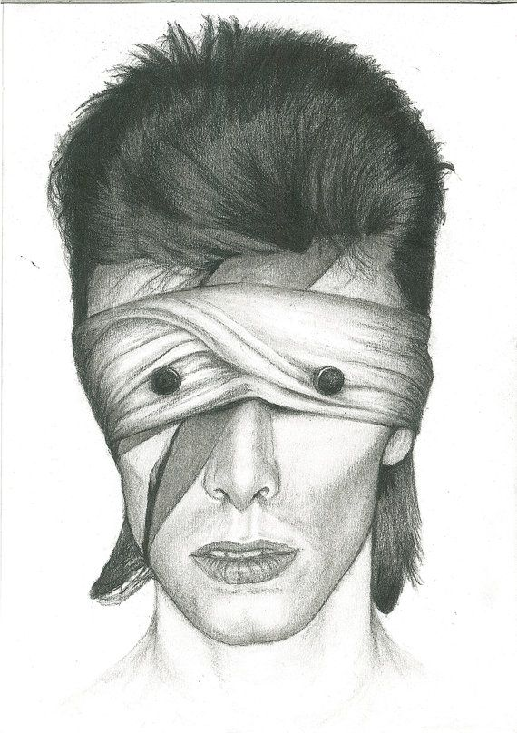 Inspired by the lazarus and blackstar video, this is the first portait in The DAVID BOWIE TRIBUTE SERIES which features the bandaged eyes over his