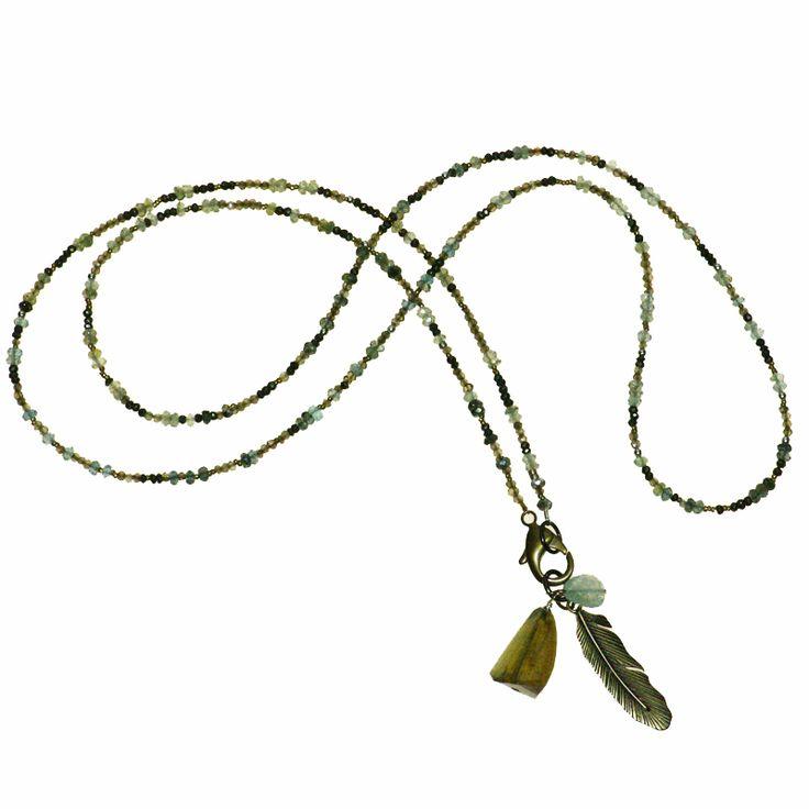 Moss Aqua, Pyrite and Smokey Quartz with Brass (DN718MW) $450 Unique Jewellery and Gemstones :: Skanda :: Victoria & Duncan -