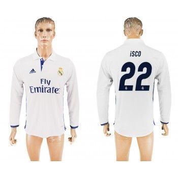 Real Madrid 16-17 Isco 22 Hemmatröja Långärmad   #Billiga  #fotbollströjor