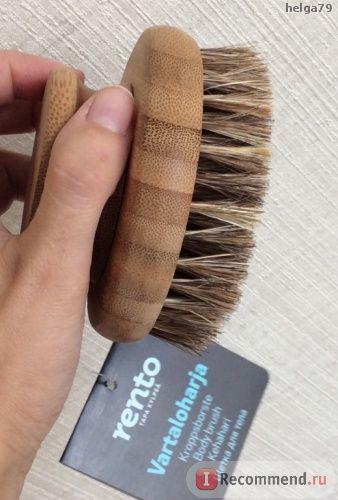 Круглая щетка для тела Rento 9,5 см , натуральная щетина фото