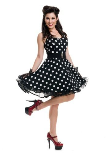This Women's Black Polka Dot Pin Up Costume is a cute, retro look that's sure to turn heads!