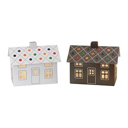 "STRÅLA decorative light, white/brown, gingerbread house Length: 9 "" Width: 6 "" Height: 8 "" Length: 23 cm Width: 15 cm Height: 20 cm"