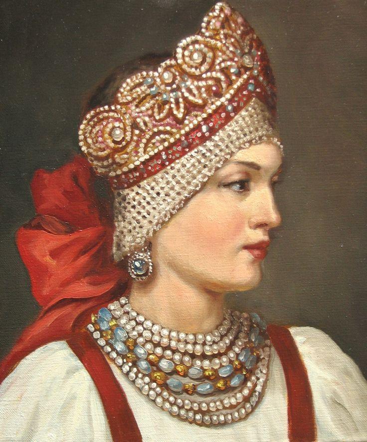 Russian costume in painting. 'Girl in a Kokoshnik Headdress' by Andrey Shishkin, a contemporary Russian artist. #art