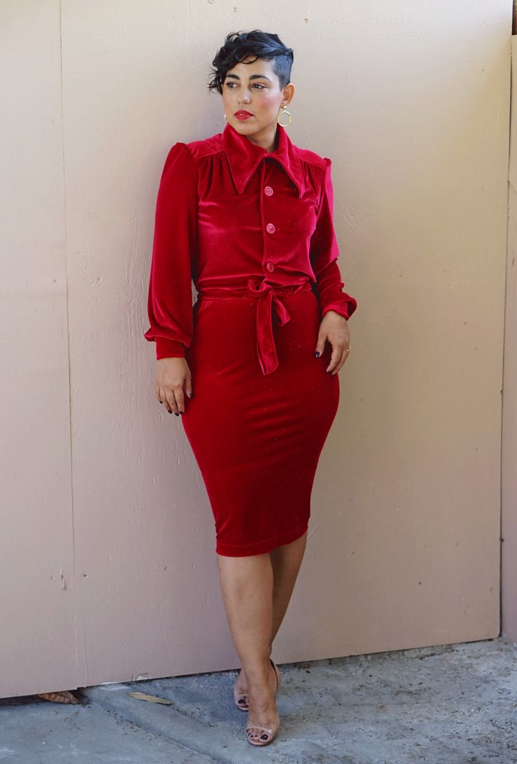 TWO PIECE SKIRT SET (RED OR BLUE)