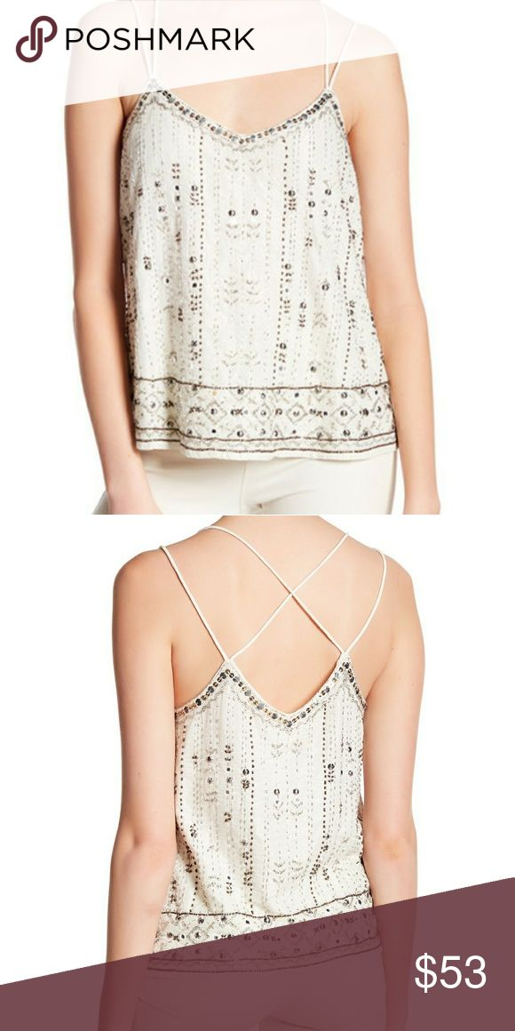 Willow & Clay Double Strap Tank Ivory Size is Medium C-note Sleeveless Scoop back 95% cotton 5% Lurex Willow & Clay Tops Tank Tops