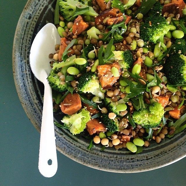 Roast Kumara, Broccoli and Lentil Salad // via Homestyle Mag  Chop kumara into chunks and roast in a 180C oven for 45min, or until soft and golden. Lightly boil broccoli florets and edamame beans, then refresh in cold water. Drain a can of lentils, combine with a handful of bean sprouts, add the kumara, broccoli and edamame beans. Mix together 1tsp dijon mustard, 1tsp honey, juice of a lemon and a good lug of olive oil. Toss gently, top with chopped rocket and a sprinkle of toasted seeds.