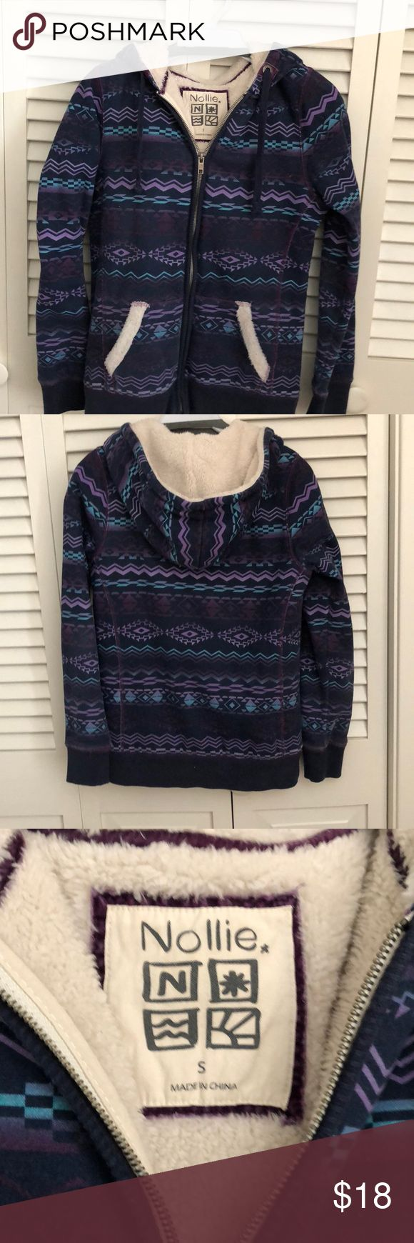 Ladies hoodie This is a blue printed fabric made by the foxy brand. It is Sherpa lined except sleeves are lined with cotton jersey . It is size s and runs small. So cute and warm and soft!! Great shape! nollie Tops Sweatshirts & Hoodies