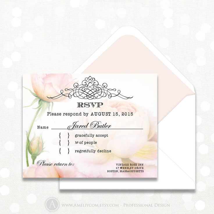 Printable RSVP Card Instant Download Digital Retro Blush Pink Roses Reply Card, Response Cards for Wedding, Birthday, Shower + Back PostCard