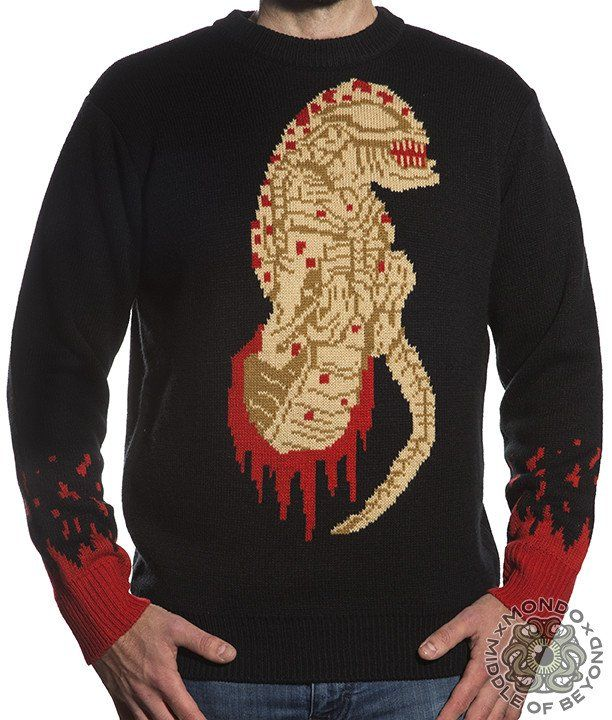 Product in Stock Ships in 1-2 Days Mondo x Middle of Beyond bring you this officially licensed Alien sweater. This sweater is made of 100% acrylic. Black, red, brown, and tan in color. It is decorated with the Chestburster central image and a blood drips on the sleeves. Size Chart