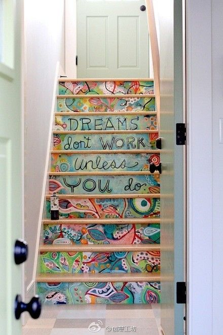 staircase decoration ideas - Perfect for stairs leading to school/playroom and /or a kids wing of a home