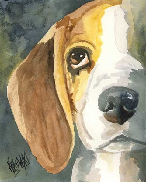 Beagle Art Print of Original Watercolor Painting by dogartstudio, $12.50