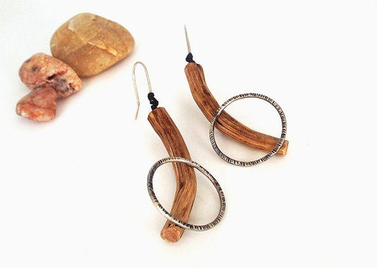 Driftwood-sterling silver earrings-hammered by LentiJewelry