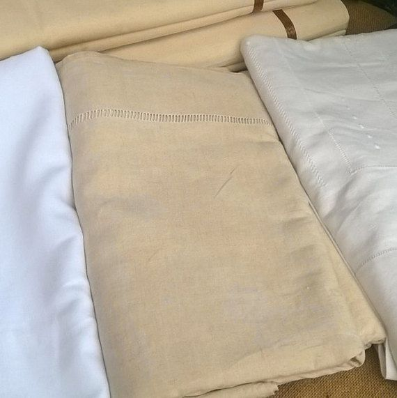#Victorian wide French linen Flat Sheet with ladder work.  Off White linen fabric , camel color, for a 2 persons bed. 91. 33 X…