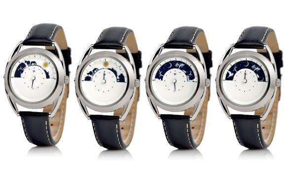 Představujeme vám první model značky Mr Jones Watches které jsou v ČR dostupné pouze na 24Time.cz Sun and Moon- zobrazují čas na základě pozice slunce a měsíce na obloze. Půlměsícový výřez v ciferníku hodinek znázorňují 12 hodin. Slunce zobrazuje hodiny od 6:00 do 18:00 a měsíc od 18:00 do 6:00. Unikátní a zcela úžasné hodinky.  http://www.24time.cz/sun-and-moon/