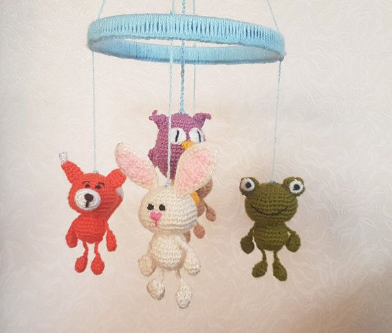 Baby mobile Forest animals Crib Mobile Nursery by FunnyAmiToys