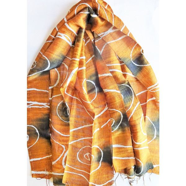 Brown Silk Shawl Hand Dyed Handwoven Batik Handmade Wedding Gift... ($26) ❤ liked on Polyvore featuring accessories, scarves, silk shawl, light weight scarves, lightweight shawl, brown scarves and silk scarves