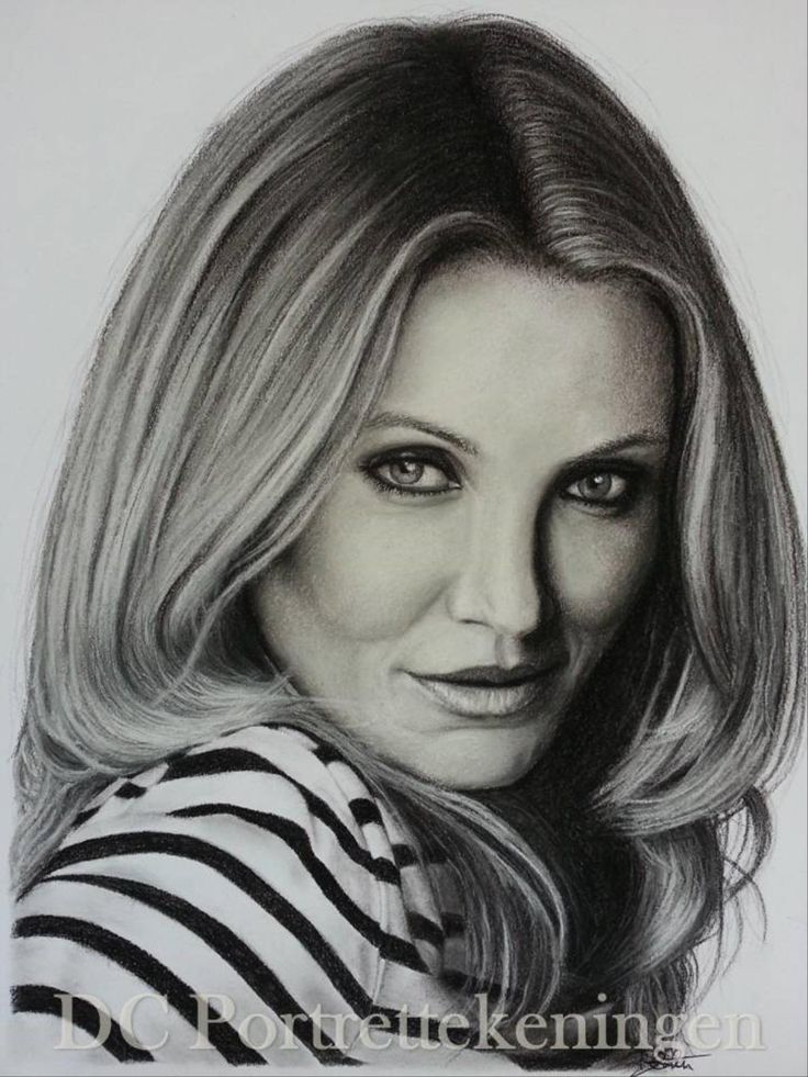 """""""Cameron Diaz"""" realistic portrait drawing made with pastelpencils"""
