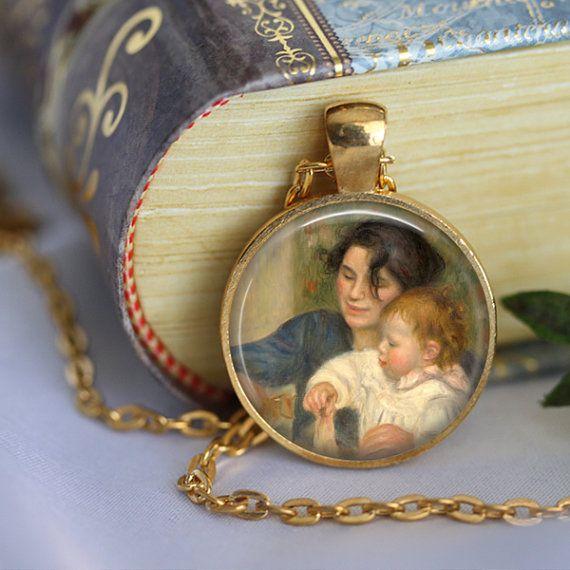 RENOIR Necklace Jewerly Mother Glass Pendant by LiteraryArtPrints