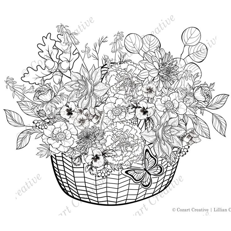 Adult coloring page, finely detailed basket of spring