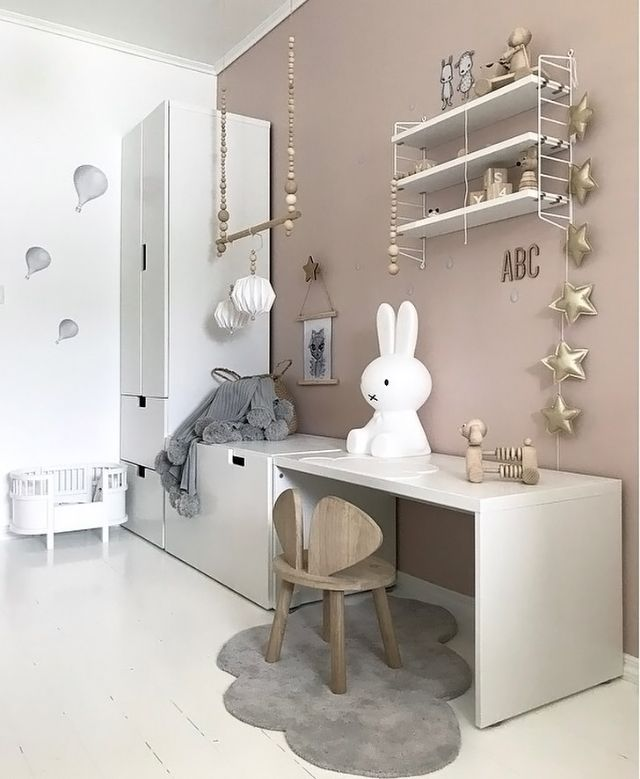 A pretty kid's room by @nr13b, Miffy lamp and String Pocket shelf are all available at www.istome.co.uk