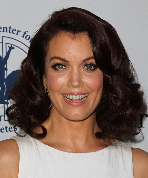 Bellamy Young Medium Wavy Formal Hairstyle – Dark Chocolate Brunette Hair Color
