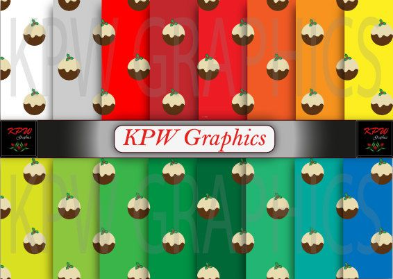 Set of 16 Christmas Puddings with mixed color by KPWgraphics