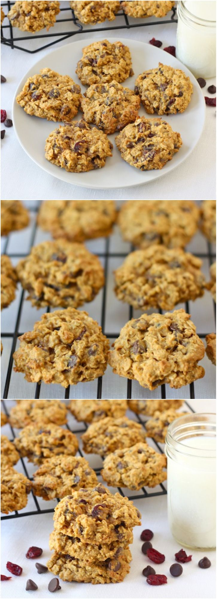 Pumpkin Oatmeal Cookies with Chocolate Chips and Dried Cranberries. Recipe on twopeasandtheirpod.com A MUST make cookie for fall!