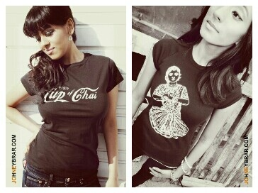 Courtesy of Johney Brar during our 2013 Model Contest. Our Cup of Chai and Dancing Girl tshirt.