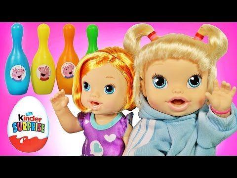 Куклы Пупсики Беби Элайв выигрывают в конкурсе Киндер-Сюрпризы Маша и Медведь, Свинка Пеппа. - YouTube