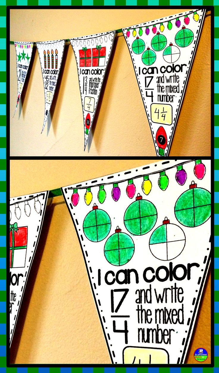 Improper fractions and mixed numbers. In this collaborative activity students convert improper fractions to mixed numbers and mixed numbers to improper fractions. Students also color portioned pictures to show the fractions. All pictures are themed for Christmas. All pennants also include other places to color so that students can get creative. There are 13 pennants asking students to convert from improper fractions to mixed numbers and 12 pennants asking students to convert the other way…