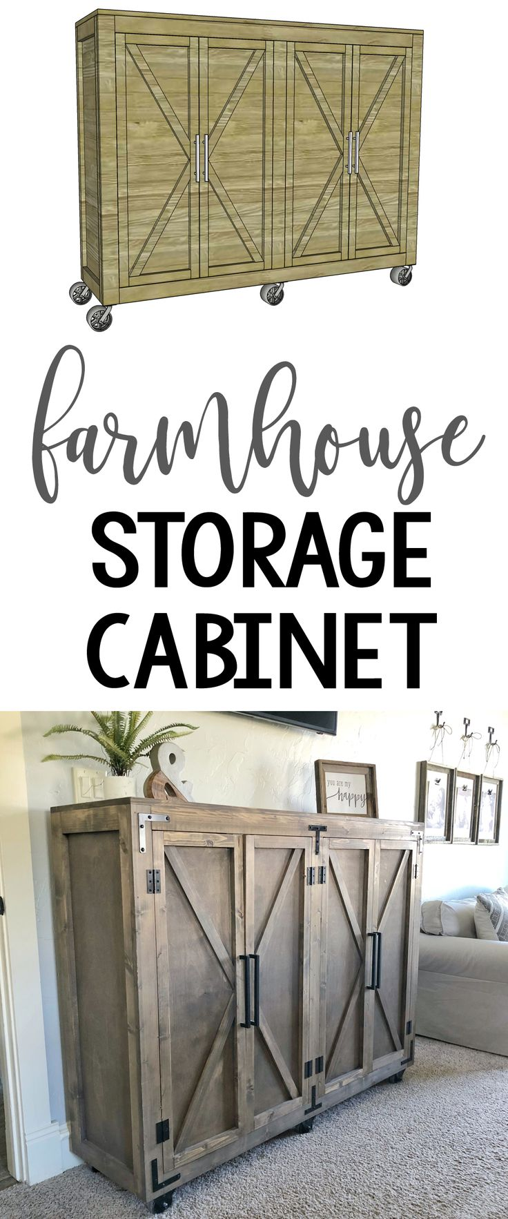 DIY Farmhouse Storage Cabinet Free plans and tutorial by Shanty2Chic!  Great for any room!