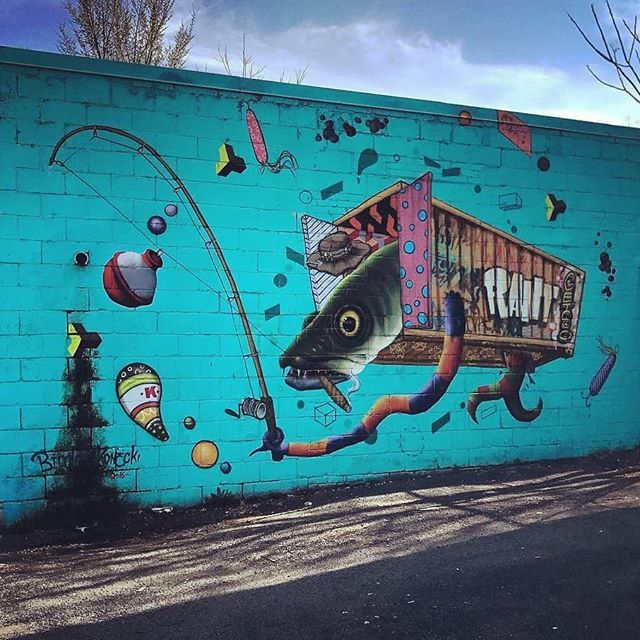 Gone fish'n - One of Toronto's many awesome pieces of street art. #art #fishing #streetart #graffiti #Repost @streetartintoronto with @insta.save.repost