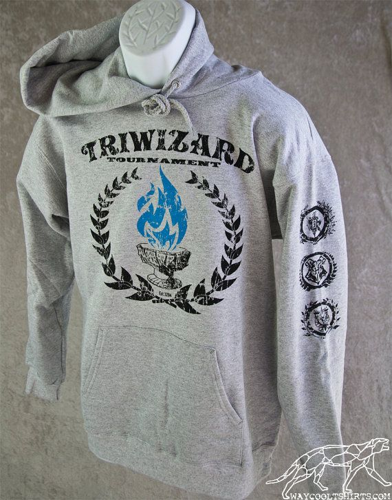 HARRY POTTER HOODIE TriWizard Tournament. Blue Flames of the Goblet of Fire Spit out Harry Potter's Name. For Hogwarts Alumni  Students