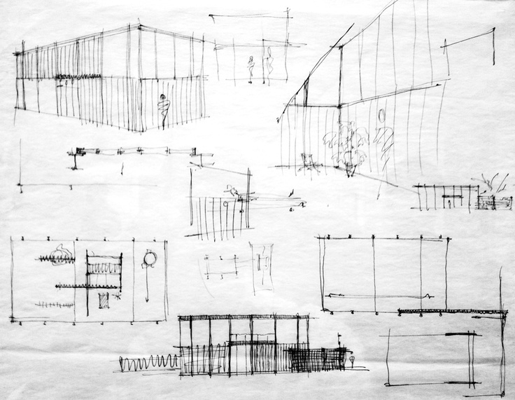 Ludwig Mies van der Rohe, Sketches for a glass house.